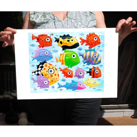 "Giclée-Druck auf FineArt Papier: ""The Ocean is Full of Colorful Fish"""