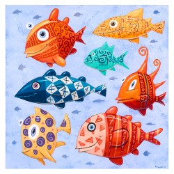 "Painting: ""Seven Swimming Fish"""