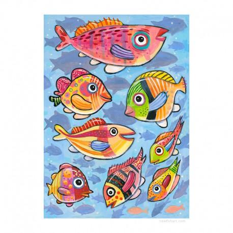 "Giclée-Druck auf Leinwand: ""Fish, Fish, Fish"""