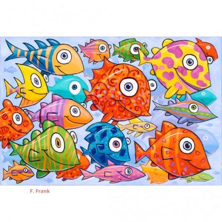"Giclée-Druck auf Leinwand: ""Sea of Fish"""