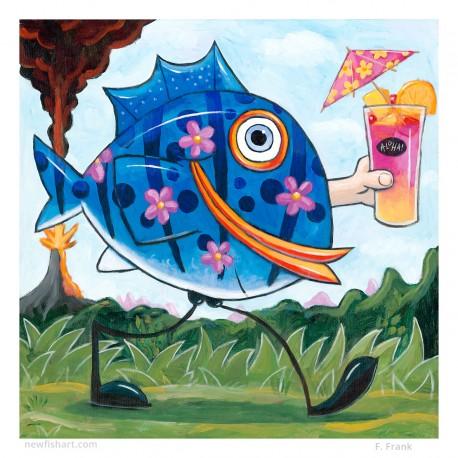 "Giclée-Druck auf Leinwand: ""Drink Like a Fish"""