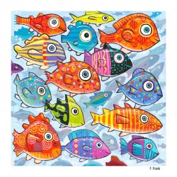 "Giclée-Druck auf Leinwand: ""Colorful Fish in the South South Sea"""