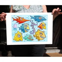 "Giclée Print on Fine Art Paper: ""Fish Fun""."
