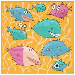 """Giclée-Druck auf Leinwand: """"Eight Happy Fish"""""""
