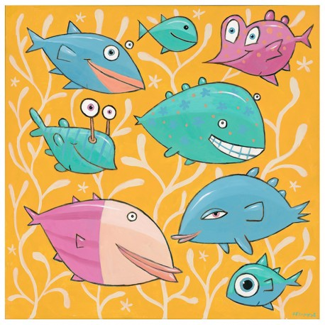 "Giclée Print on Canvas: ""Eight Happy Fish"""
