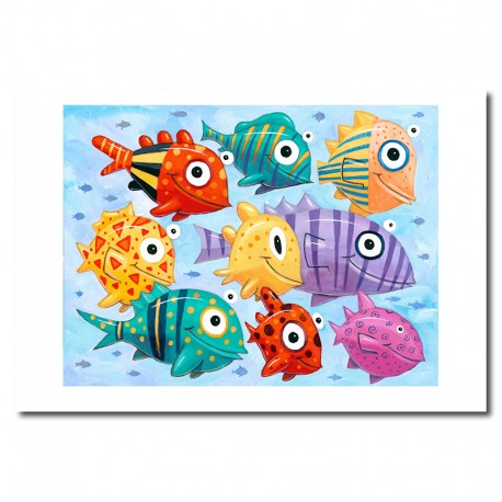 """Giclée Print on Fine Art Paper: """"Colorful Fish in the Sea"""""""