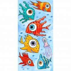 "Giclée-Druck auf Leinwand: ""Happy Fish in the Blue Sea"""