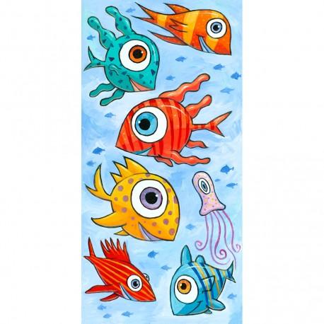 "Giclée-Druck auf Leinwand: ""Happy Fish in the Blue Sea"""