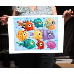 "Giclée-Druck auf FineArt Papier: ""Colorful Fish""."