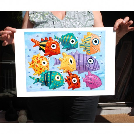 "Giclée Print on Fine Art Paper: ""Colorful Fish in the Sea"""