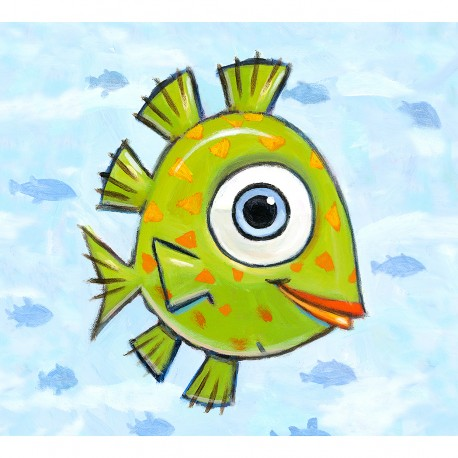 "Giclée Print on Fine Art Paper: ""Happy Green Fish""."