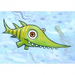"""Giclée-Druck auf FineArt Papier: """"Happy Green Shark""""."""