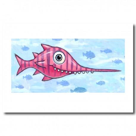 "Giclée Print on Fine Art Paper: ""Happy Green Shark""."