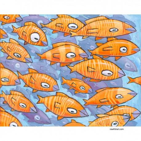 "Giclée-Druck auf Leinwand: ""A School of Orange and Yellow Fish"""