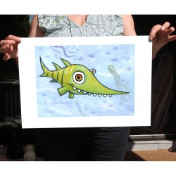 "Giclée-Druck auf FineArt Papier: ""Happy Green Shark""."