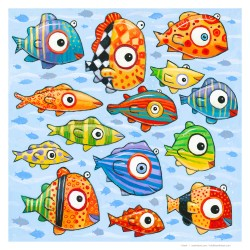 "Giclée Print on Fine Art Paper: ""Fourteen Happy, Colorful Fish"""