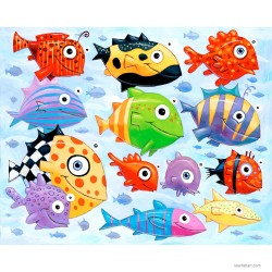 "Giclée Print on Fine Art Paper: ""The Ocean is Full of Colorful Fish"""
