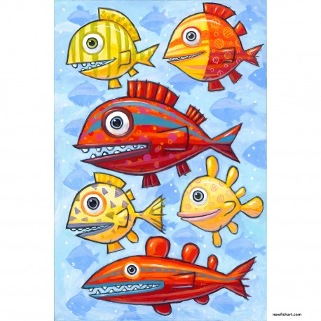 """Giclée Print on Canvas: """"Fish in a High Tide"""""""