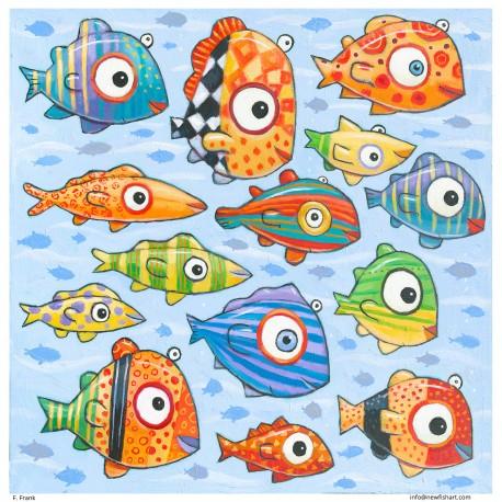 "Giclée-Druck auf Leinwand: ""Happy Colorful Fish"""