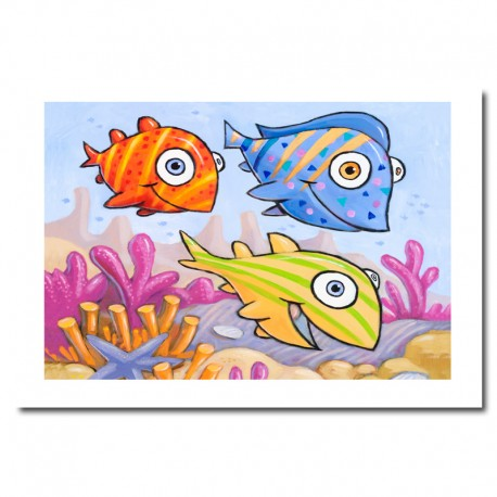 "Giclée-Druck auf FineArt Papier: ""Three Fish""."