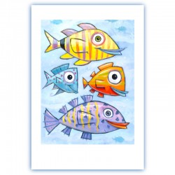 "Giclée Print on Fine Art Paper: ""Four Fish"""