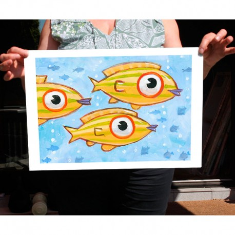"Giclée-Druck auf FineArt Papier: ""Three Yellow Fish""."