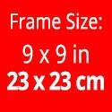 Rahmengröße: 23x23 cm. Bilder:  15 x 15 cm
